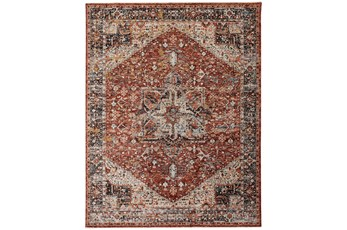 114X149 Rug-Ornate Traditional Medallion Rust