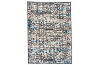 60X96 Rug-Abstract Grid Grey/Turquoise