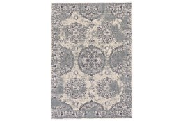 60X96 Rug-Faded Medallion Silver/Blue