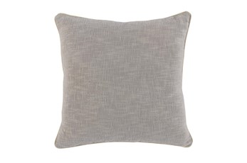 Accent Pillow-Grey Cotton Slub With Linen Trim 22X22