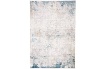 58X94 Rug-Pattern Overlay Ivory/Blue