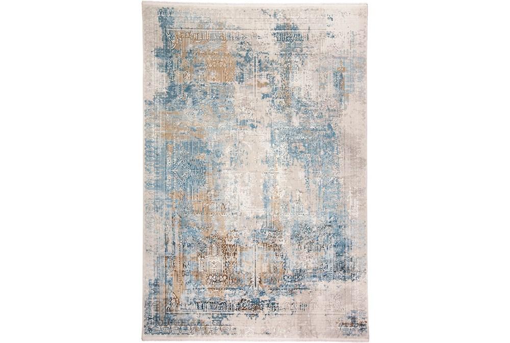 58X94 Rug-Pattern Overlay Blue/Grey
