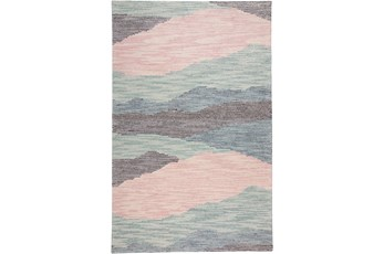 60X96 Rug-Multi Wool Striations Blush