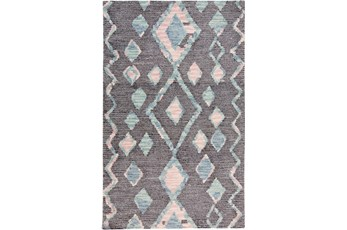 60X96 Rug-Lineal Multi Colored Tribal Diamonds Navy