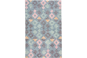 96X120 Rug-Multi Colored Tribal Diamonds Navy
