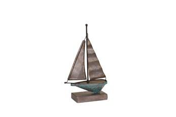 Teal Galvanized Metal Sailboat