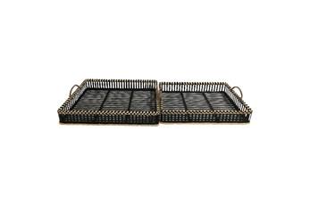 Black Bamboo Trays Set Of 2
