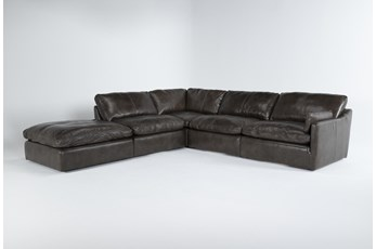 "Marcello Leather 5 Piece 127"" Sectional With Right Arm Facing Chair"