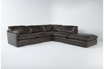 "Marcello Leather 5 Piece 127"" Sectional With Left Arm Facing Chair"