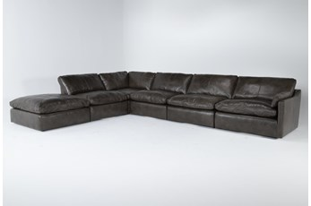 "Marcello Leather 6 Piece 168"" Sectional With Right Arm Facing Chair"