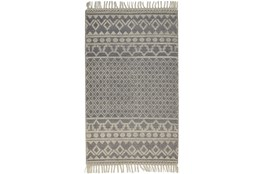 60X90 Rug-Textured Boho Grey/Ivory