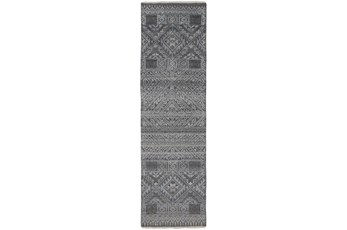 30X120 Rug-Hand Knotted Wool Blue/Grey