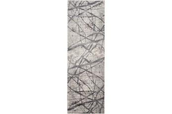 31X96 Rug-Natural Abstract Charcoal/Grey