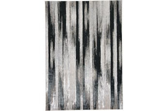60X96 Rug-Silver Metallic And Black Vertical Lines