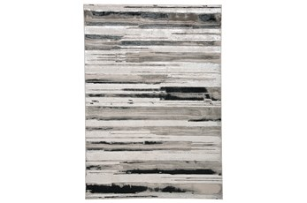 60X96 Rug-Silver Metallic And Black Horizontal Lines