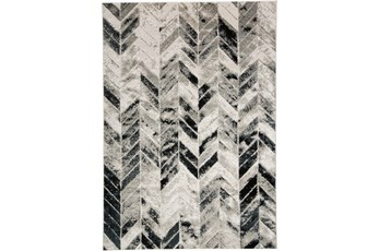 60X96 Rug-Silver Metallic And Black Chevron