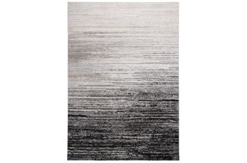 120X158 Rug-Silver Metallic And Black Horizontal Ombre