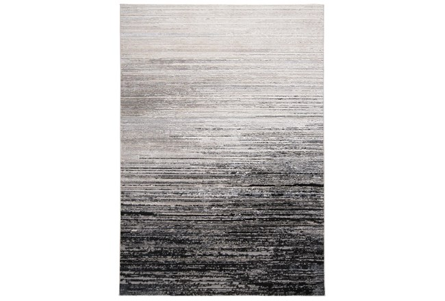 120X158 Rug-Silver Metallic And Black Horizontal Ombre - 360