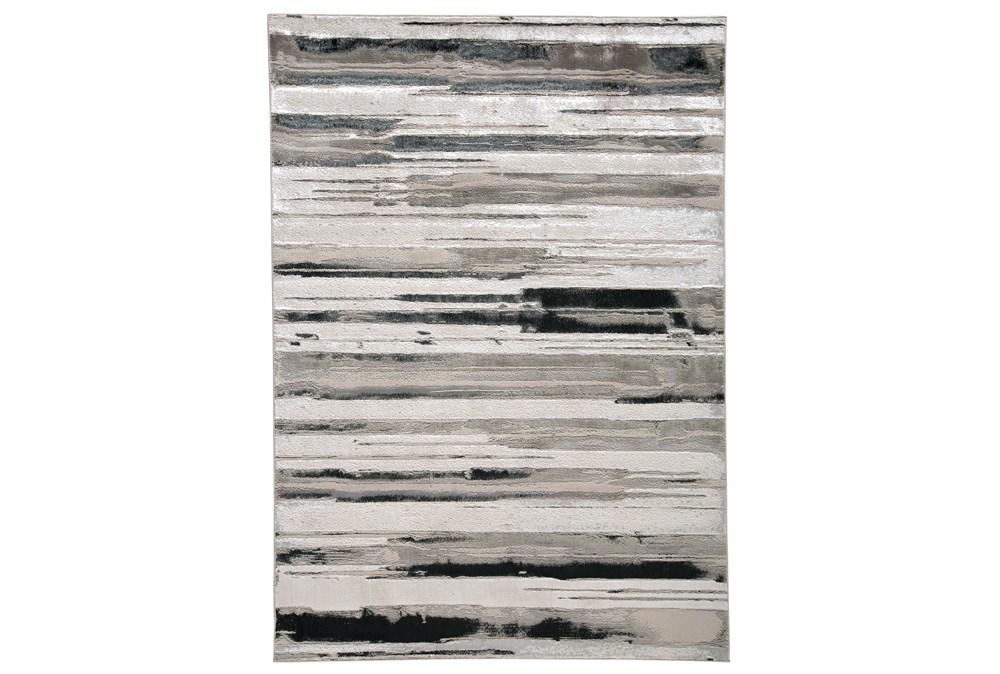 79X114 Rug-Silver Metallic And Black Horizontal Lines
