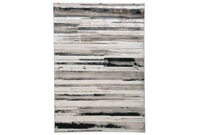 79X114 Rug-Silver Metallic And Black Horizontal Lines - 360