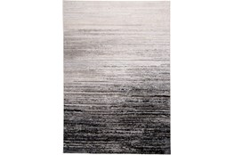 79X114 Rug-Silver Metallic And Black Horizontal Ombre