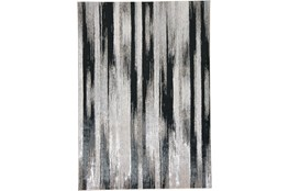 79X114 Rug-Silver Metallic And Black Vertical Lines