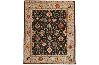 114X162 Rug-Gramoy Hand Knotted Charcoal/Light Blue