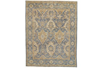 93X117 Rug-Gramoy Hand Knotted Light Blue/Beige