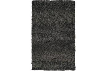 60X96 Rug-Wool Yarn Shag Black