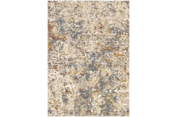 144X180 Rug-Abstract Blue/Metallic Gold