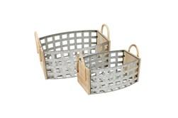 Tin Woven Basket With Wood Handles Set Of 2