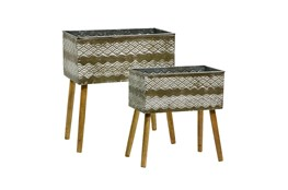 16/18 Inch Aztec Planter On Stand Set Of 2