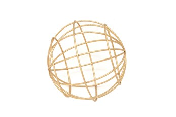 6 Inch Gold Metal Decorative Orb