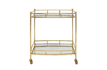"Metal 28"" 2 Tier Bar Cart, Gold"