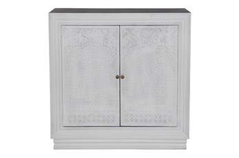 White Wash 2 Door Carved Chest