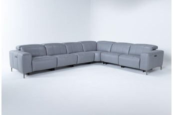 "Alessa Sleet 6 Piece 142"" Power Reclining Sectional With 2 Power Headrest,Usb And 2 Armless Chairs"