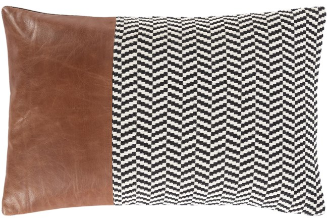 Accent Pillow-Herringbone & Leather Band 13X20 - 360