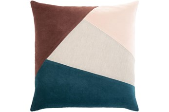 Accent Pillow-Color Block Teal/Rust 18X18