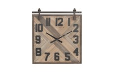 Mulitcolor Wood Square Analog Wall Clock