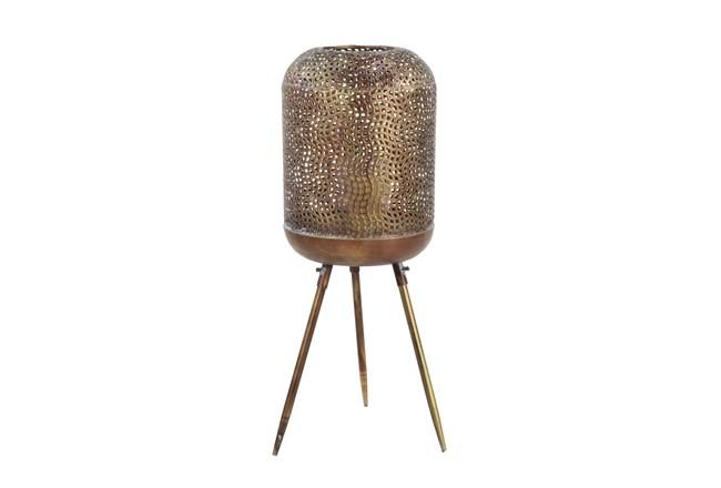 32 Inch Gold Patterend Round Floor Lantern  - 360