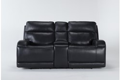 "Victor Navy Zero Gravity Power Reclining 79"" Console Loveseat With Power Headrest & Lumbar"