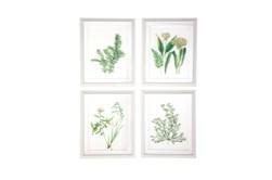 White 21 Inch Polystone Wood Glass Framed Wall Art Set Of 4