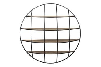 Light Brown 36 Inch Metal Wood Wall Shelf