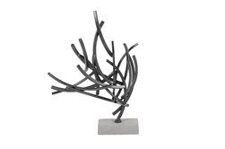Grey 23 Inch Metal Cement Abstract Sculpture