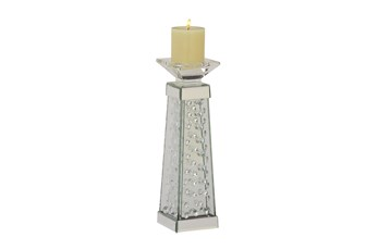 Silver 14 Inch Glass Mirror Crystal Candle Holder
