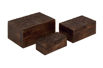Brown 6 Inch Wood Carved Box Set Of 3