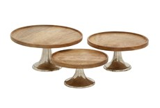 Brown 7 Inch Wood Aluminum Cake Stands Set Of 3