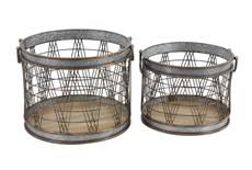 Grey 13 Inch Metal Wood Planter Set Of 2