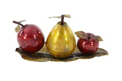 Red 9 Inch Metal Fruit Tray Stand Decor