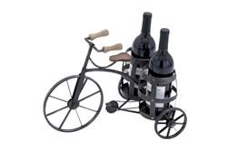 Black 12 Inch Metal Tricycle Wine Holder